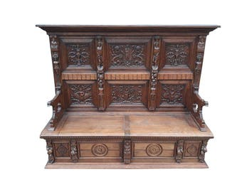 Fantastic Antique French Renaissance Bench, Great Carvings, Oak, 1900's #8632