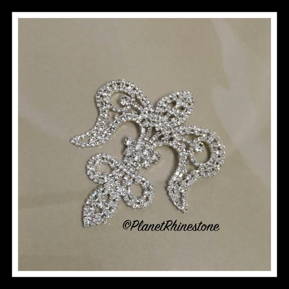 Silver Medium Fleur De Lis Rhinestone Applique #164