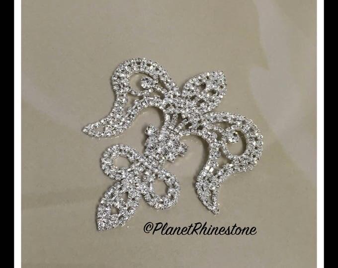 Silver Medium Fleur De Lis Rhinestone Applique #164