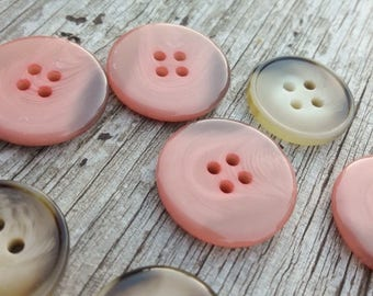 Vintage french buttons,  oystercolour buttons, pink  buttons, unusual buttons,  two sets of 4 pce set buttons,