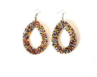 Mixed bead earrings, earrings for women, African earrings, beaded earrings