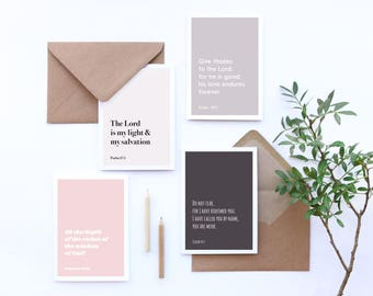 Set of 4 encouragement cards with Bible verse, Christian encouraging cards, Bible verse greetings cards, soft pinks and greys, typography