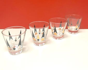 Mid Century Black and Gold Geometric Shot Glasses, Set of Four