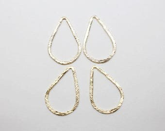 P0651-3/Anti-Tarnished Matte Gold Plating Over Pewter/Angled Teardrop Pendant Connector Medium/18x27mm/4pcs