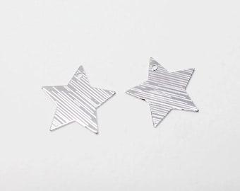 P0673/Anti-Tarnished Rhodium Plating Over Steel/Textured Flat Star Pendant/17x17mm/4pcs