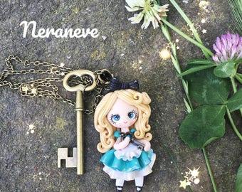 Alice in wonderland bronze key charm necklace