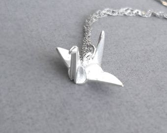 Sterling Silver Origami Crane Necklace, Silver Crane Necklace, Silver Bird Necklace, Origami Animal Jewelry,Anniversary Gift