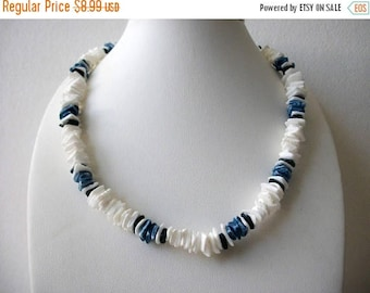 ON SALE Vintage Dyed And Natural PUKA Shell Necklace 80117