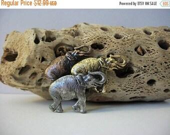 ON SALE Vintage Herd Of Elephants Multi Tone Metal Pin 82916