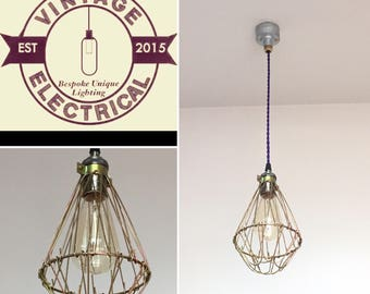The Clippesby Single Drop Cage industrial ceiling light edison lamp vintage twisted cable + Filament Lamp Included
