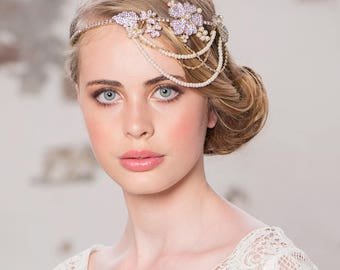 Bridal headband, grecian headband, gold grecian headpiece, bridal headband, ivory pearl headband ,crystal pearl hairband,