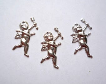 Small cupid dangle, 16 Steel stampings, Vintage 1 inch cupid charms