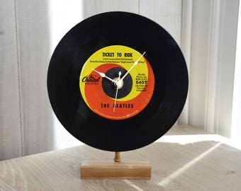 """Record Clock: THE BEATLES """"Ticket To Ride"""" Desk or Wall Clock 45 rpm Vinyl Record"""