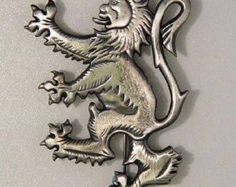 Antique Lion Rampant Brooch Pewter Kilt Pin
