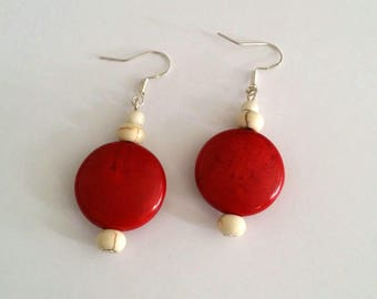 925 Silver earrings with red synthetic stone beads