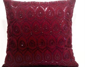 Decorative Throw Pillow Covers 18x18,Pillow Covers,Red Decorative Pillows for Couch,Sofa Pillows,Home Decor,Bed Pillows