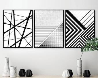 Printable Art, Set of 3 Geometric Prints, Set of 3 Prints, Downloadable Prints, Black White, Posters, Wall Art, Prints, Art, Geometric Lines
