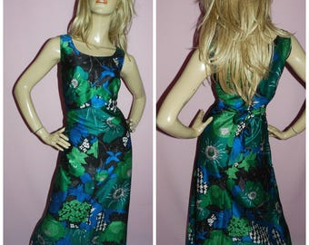 Vintage 60s 70s Blue Green PSYCHEDELIC FLOWER POWER Print maxi dress 16-18 L 1960s 1970s Kitsch