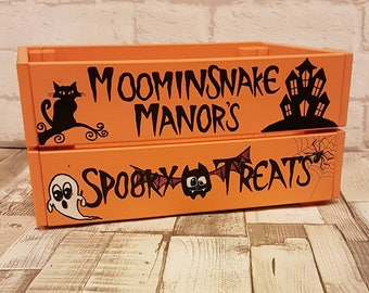 Halloween Wooden Crate - Personalised Crate