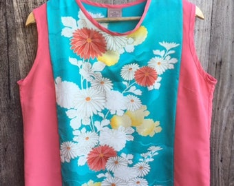 Orange and Blue Sleeveless Top, Singlet, Blouse featuring Upcycled Vintage Japanese Kimono Silk