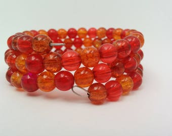 Crackle Bead, Memory Wrap, Bracelet, Red, Orange, Fire Themed, Unique, Quirky, Summer, Fun, Funky,