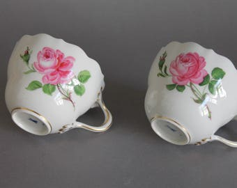 Meissen Crossed Swords Red Pink Rose 2 Coffee Cups 2nd 20th Century
