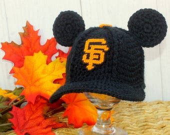 Baseball hat with MICKEY ears, baby baseball hat, San Francisco GIANTS inspired (Handmade by me and not affiliated with the MLB or Disney)