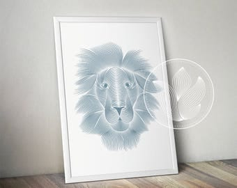 Digital Lion line art, Lion Png, Jpg, Animal nursery printable, Wall decor, Lion clip art, Lion poster design, Lion gifts, Lion illustration