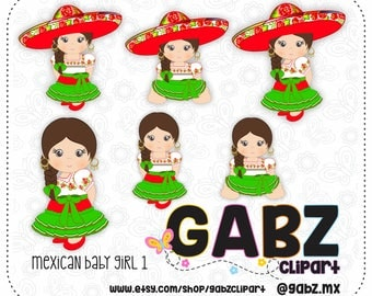 Mexican Baby Girl 1, Mexican Folklore, Clipart, Aztec, Decorative, Baby Shower, First Birthday Party, Mexican, Fiesta, Gabz