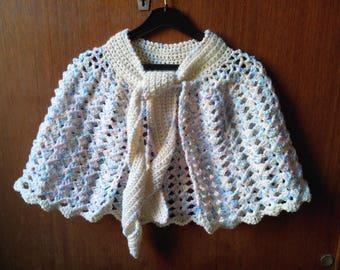 Cape child shawl crocheted decorative stitches