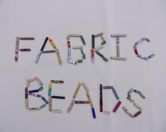 scrap fabric beads set of 50, assorted scrap fabric beads, beads made of scarps of fabric, necklace making, braclet making, handmade jewlery