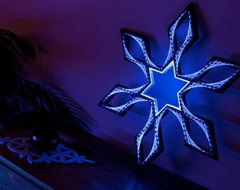 Node Lx - String art, sacred geometry, psychedelic, wall art, home decor, mandala, zen, 3D art, spiritual gift, yoga, UV, Blacklight