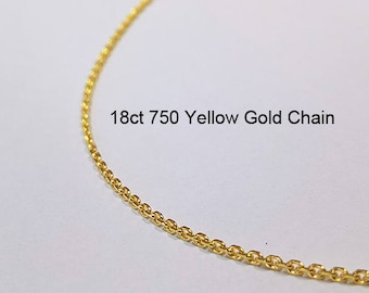 18ct 750 Solid Yellow Gold Oblong Trace Link Chain Necklace for Pendant Jewellery - PS64