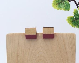 Stud earrings - wood studs - wood earrings - minimalist jewelry - green earrings - geometric earrings - nature lover gift -