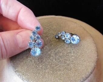 Vintage Pair Of Silvertone Baby Blue Rhinestone Clip Earrings