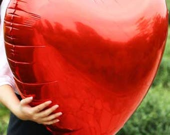 Large Red Heart Foil Balloon - Red Heart Helium Balloon - Hen Party Decoration - Wedding Red Heart Balloon Decoration - Valentines Balloon -