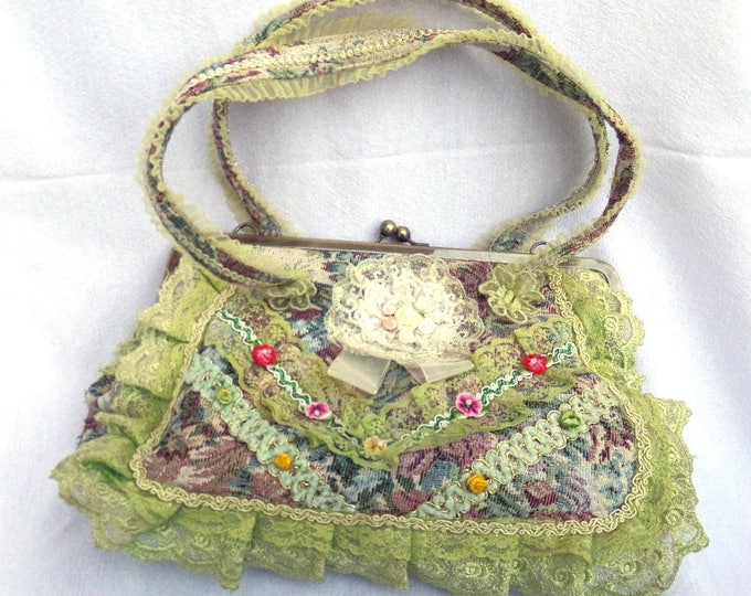 "Embellished Hand Bag, Bohemian Gypsy Style, Fabulously Unusual, 12.5"" x 8.5"" x 4"" (Exc 9.5"" Handle Straps), Excellent Vintage Condition"
