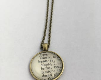 BEAUTY Vintage Dictionary Word Pendant