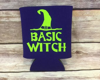 Basic Witch Funny Halloween Holiday Party Favor Can Cooler Beverage Holder Drink Hugger Plum Purple Lime Green
