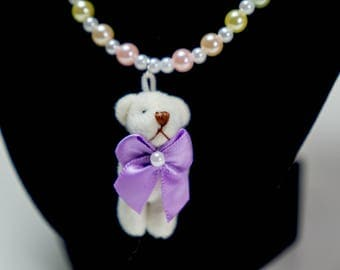 Plush Bear Necklace with Rainbow of Pearls - So Kawaii !! J-fashion Decora Lolita Fairy Kei