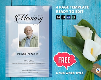 OCEAN | Funeral Program Template, Obituary Program, Memorial Program  Template, Microsoft Word Template  Free Obituary Program Template