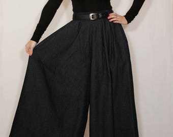 Denim pants Black palazzo pants Wide leg pant skirt for women Custom pants