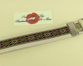 Diamond webbing key fob short wristlet key ring lanyard wedding favour handmade in England