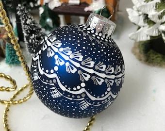 Blue glass hand painted mandala Christmas ball ornament