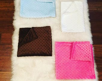 Baby Brown Minky Blanket & Burp Rag Set.