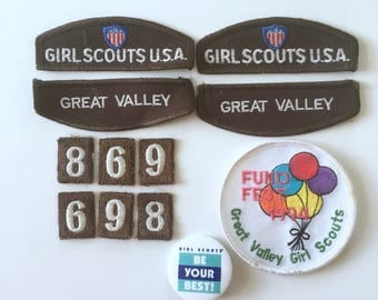 Girl Scout Troop Badges, Group of 12 Vintage Brownie Badges and Pin, Girls Scouts USA, Great Valley, Fund Fest Badge, Be Your Best Pinback
