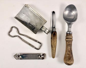 Vintage Kitchen Tools, Handmade Tin Scoop, Bottle Opener, Can Opener, Ice Cream Scoop, Vegetable Peeler, Wood Handle, Kitchen Utensils