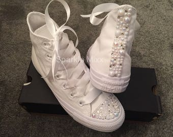 Adults White Swarovksi Crystal and Pearl High Top Converse Bling wedding prom bridesmaid