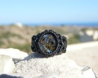 Macrame ring Healing crystals gift Pietersite ring Macrame jewelry Natural jewel Third Eye Chakra stone Vegan jewelry Crystal ring Boho ring
