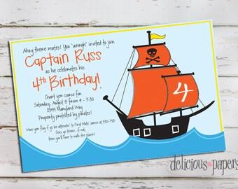 pirate birthday invitation •pirate invitation • pirate party • kids birthday invitation • kids pirate party invitation